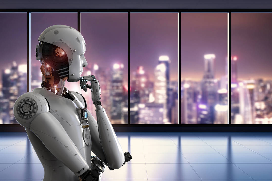robot thinking, looking at the view from a window