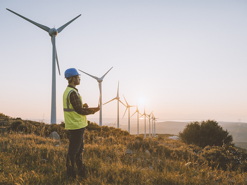 Man in hard hat next to wind turbines